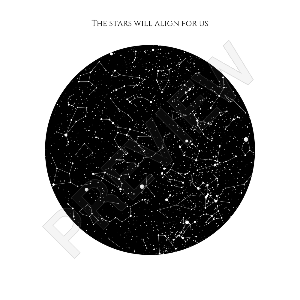 Personalised Star Map Print or Poster of the Night Sky