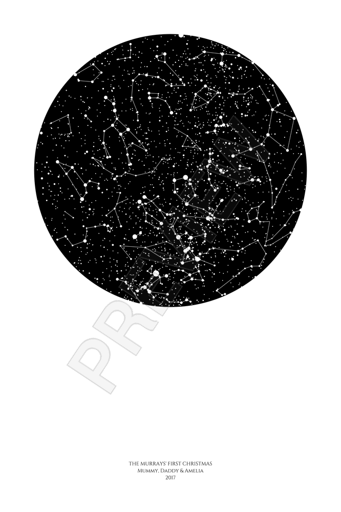 Personalized Star Map Print Or Poster Of The Night Sky Posterhaste - Star map from my location