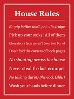Personalized House Rules Print, Poster or Canvas - Posterhaste